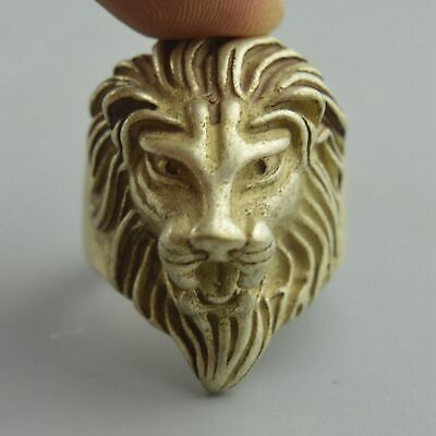 Collectable Handwork Decor old Miao Silver Carve Mighty Lion Noble Usable Ring