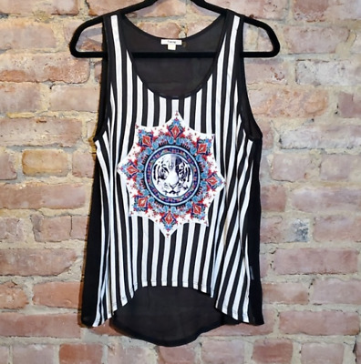 Timing Women's Large White Tiger Mandala Striped Mesh Back Tank Top