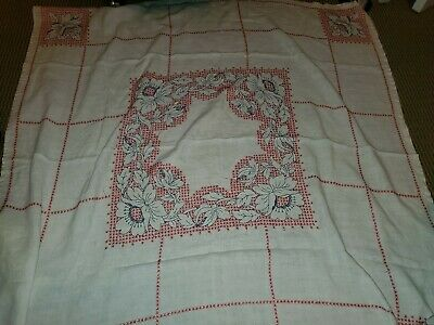 """Vintage Cotton 50s Table Cloth 48""""×48"""" Red, White, & Black"""