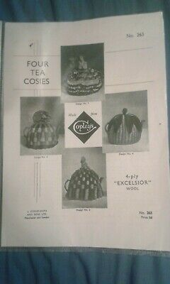Reproduction 1940/50s Pattern 4 Tea Cosies Knitted
