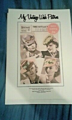 Reproduction 1940/50s Pattern Women Hats Knitted