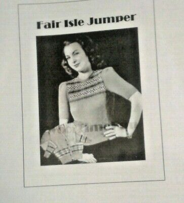 Reproduction 1940s Fair Isle Women Jumper Knitting Pattern