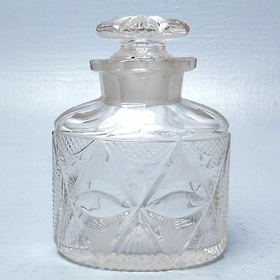 Antique Georgian Anglo-Irish Cut Glass Tea Caddy Bottle w Stopper - Crystal GL