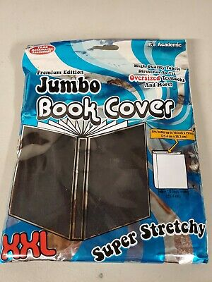 """1 Jumbo Book Cover XXL Super Stretchy Fits 10x15"""" And Less BLACK"""
