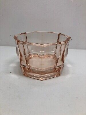 Vintage Pink Depression Glass Octagon Candy Dish, Bowl