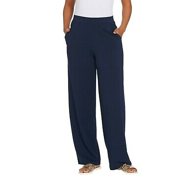 Denim & Co. Beach Regular Pull-On Wide Leg Knit Pants Solid Navy Large Size QVC