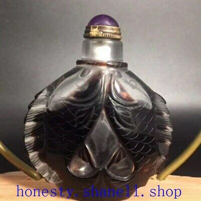 Collection Chinese hand-carved old Colored glass Two fish shaped snuff bottle
