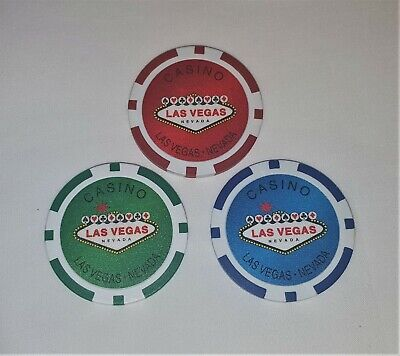 NEW Fabulous Las Vegas Nevada Casino Poker Chips 3 - Blue, Red and Green
