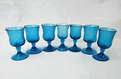 Hand Blown Glass Cordials set of 7 stemmed shot glasses twist