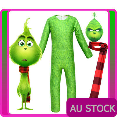 Kids The Grinch Costume Boys Santa Christmas Halloween Child Book Week Jumpsuit