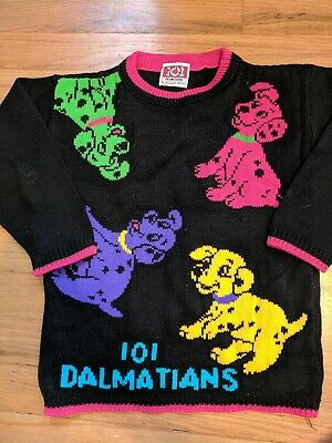 Vintage 101 Dalmatians Neon Black Sweater Kids See pictures For Size