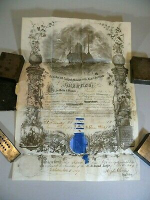 Antique 1867 Arch Master Mason Vellum Certificate PAIR Naval Lodge 24 Florida