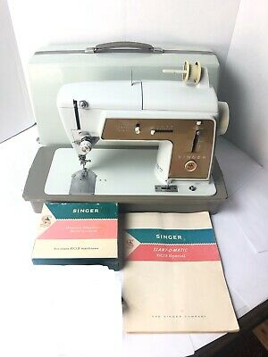 Vintage Singer Model 603 Sewing Machine W/ Case/Attachments/Manual
