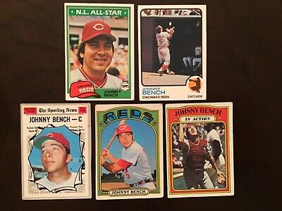 Lot Of 5 Vintage Johnny Bench Topps Baseball Cards 1970 1972 1973 1980