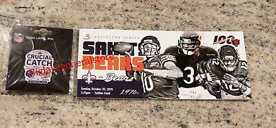 New Orleans Saints vs Chicago Bears Game Day Pin and Ticket Stub 10/20/19