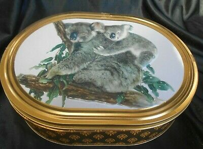 Lovely Collectible Biscuit Tin Embosed Koalas Lid. Unibic?