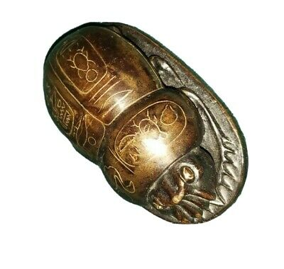 Egyptian Motif Bronze Silver Inlay Scarab with hieroglyphics Paperweight 1920s