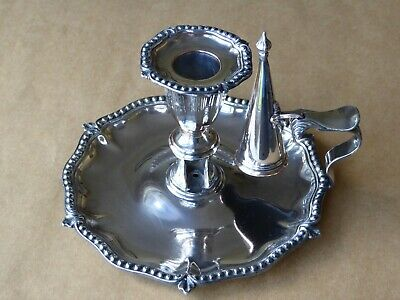 Victorian Silver Plated Chamber Stick with Snuffer c1870
