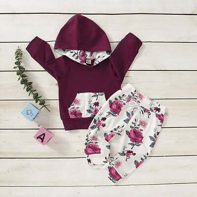 Infant Newborn Baby Girl Outfits Clothing Hooded Tops Floral Pants Clothes Set