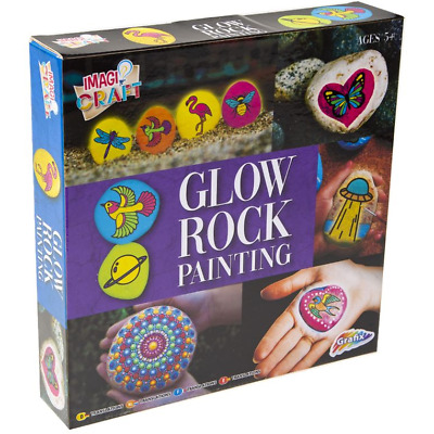 NEW Rock Painting Set Kit Glow In Dark Paint Your Own DIY Stones Childrens