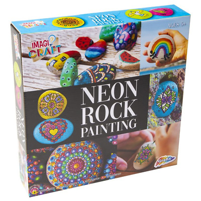 NEW Rock Painting Set Kit NEON COLOURS Paint Your Own DIY Stones Childrens