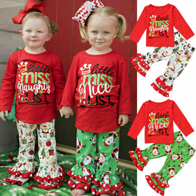 Cute Christmas Newborn Baby Boys Girls Top Romper Long Pants Outfits Clothes Set