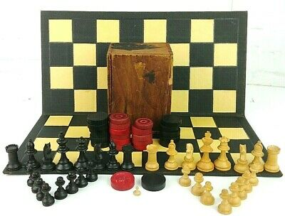 Vintage Chess Set 1930S LARDY Pieces Board checkers Art Deco  30's 40's wooden