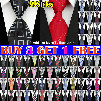 Grey Black Red Blue White Purple Wedding Stripe Plaid Dots Necktie Silk Men Tie