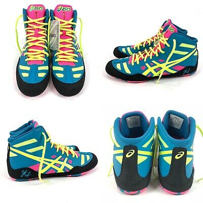 ASICS JB Elite Wrestling Shoes Boots J3A1Y Mens Size 9 Teal Flash Yellow Pink