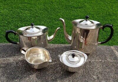 Antique vintage Viners silver plate 4 piece tea set Alpha teapot bowl milk jug