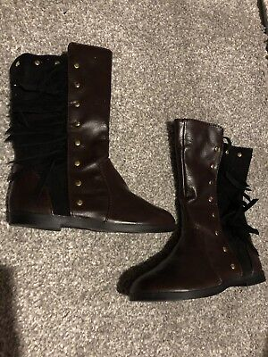 River Island baby girls Brown Black Tassle boots infant size 5
