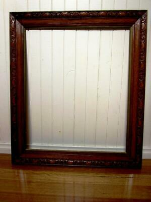 ~ Antique~Very Large~ Decoratively Carved Oak Picture Frame ....Circa 1900