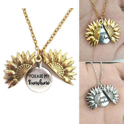 You Are My Sunshine Open Locket Sunflower Pendant Necklace Unisex Jewelry