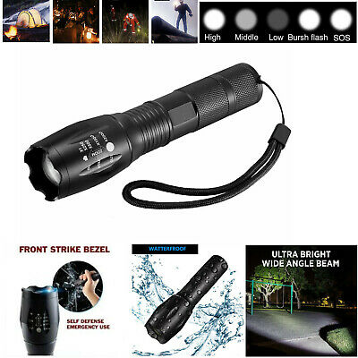 camping hike T6 Tactical Military LED Flashlight Torch Zoomable 5-Mode for 18650