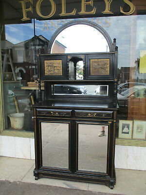 Late Victorian Aesthetic Style Ebonised Mirror Sideboard With Decorative Panels