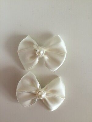 "2 Wedding Flower Girls School Small 2"" Girls Ivory Hair Bow Clips Pearl Bead"