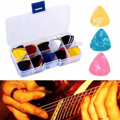 100x Guitar Picks Plectrums Bass With Case For Acoustic Ukulele Electric Guitar