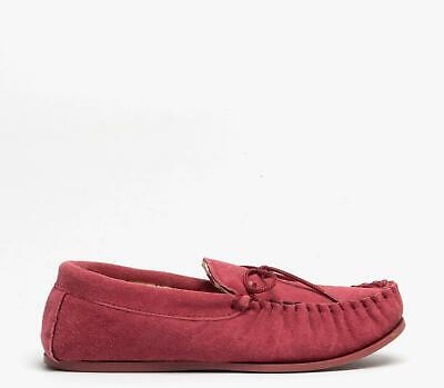 Mokkers EMILY Ladies Womens Suede Faux Shearling Moccasin Slippers Crimson