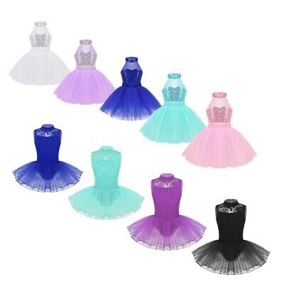 Kids Girls Lyrical Ballet Dance Dress Gymnastics Mock Neck Leotards Tutu Skirts