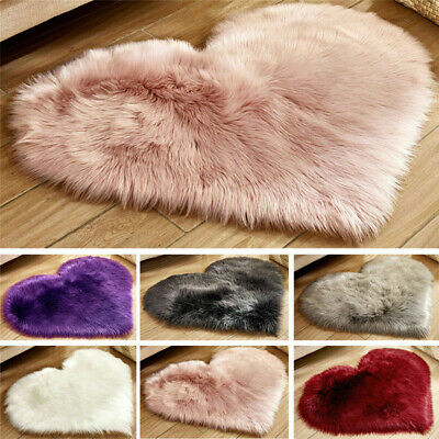 Heart Shaped Fluffy Rug Shaggy Anti-Skid Floor Mat Fur Home Bedroom Hairy Carpet