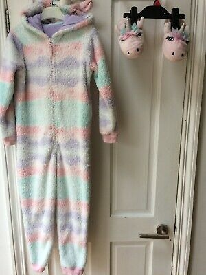 Girls Fleece Unicorn Bodysuit 5-6 Years & Slippers Size 11 By M&S Good Condition