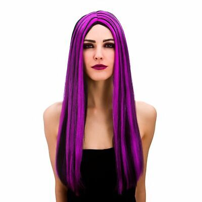 Adult Ladies Purple Gothic Bewitched Witch Vampire Wig Fancy Dress Halloween