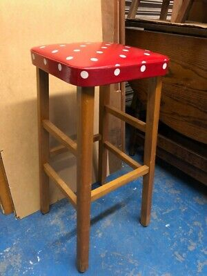 Vintage Kitchen Bar Stool Newly upholstered, but need TLC with structure