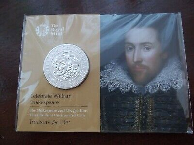 2016 William Shakespeare UK £50 Fifty Pound Fine Silver Proof Coin