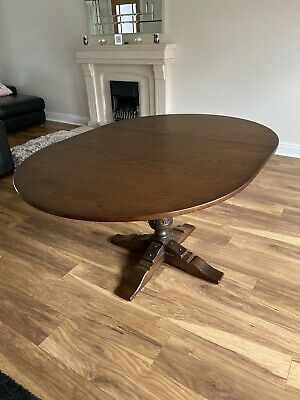 Old Charm Solid Dark Oak Dining Table. Perfect Condition