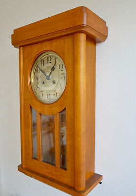 Vintage Or Antique Art Nouveau German Kienzle Uhren Wall Clock 1920s ,Wood Case