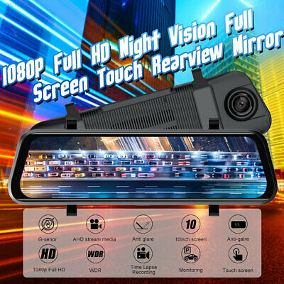 "10"" 1080P Dual Lens Car DVR Rearview Mirror Dash Cam Recorder + HD Rear Camera"