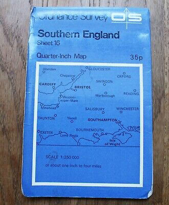 Ordnance Survey Map SOUTHERN ENGLAND Sheet 16 1:250000 Bristol Salisbury Oxford