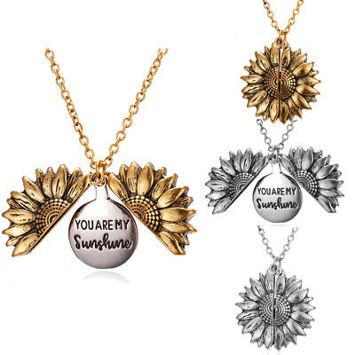You Are My Sunshine Open Locket Sunflower Pendant Necklace Jewelry Gifts Love