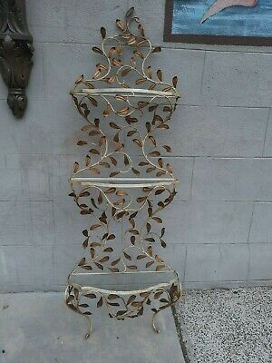 Mid Century Italian Wrought Iron Antique Style Etegere Shelf Garden